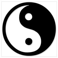 Black Yin Yang Poster
