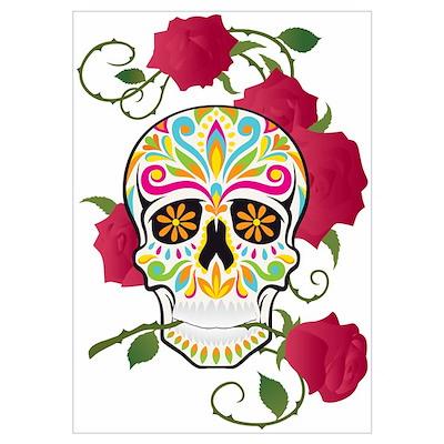 Rose Sugar Skull Poster