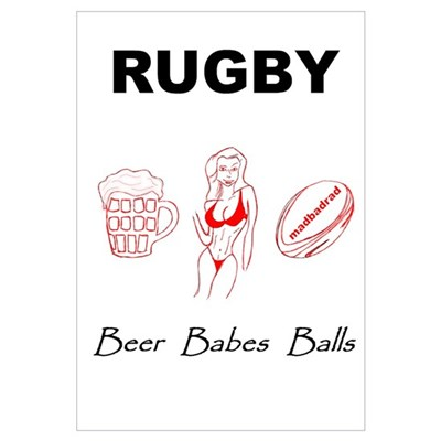 Rugby: Beer Babes Balls Canvas Art