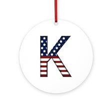 K Stars and Stripes Round Ornament