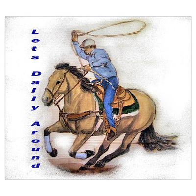 Roping Horse Buckskinn Poster