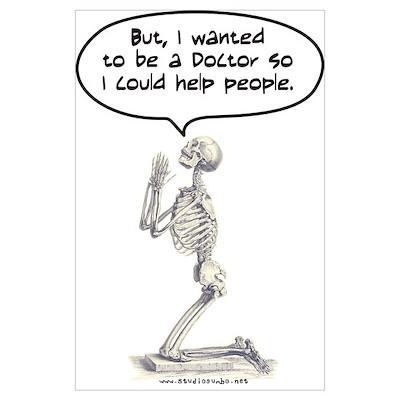 Med Student Skeleton Prayer Poster