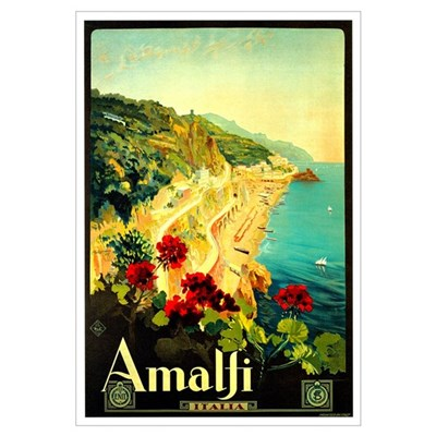 Vintage Amalfi Italy Travel Poster
