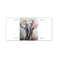 Elephant, wildlife, art, Aluminum License Plate