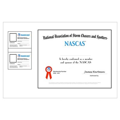 NASCAS Certificate and two wallet card blanks Canvas Art