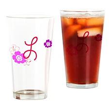 L Flowers Drinking Glass