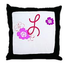 L Flowers Throw Pillow