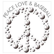 Love Peace Baseball Poster
