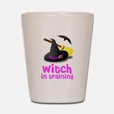 Witch in training hat broom b Shot Glass