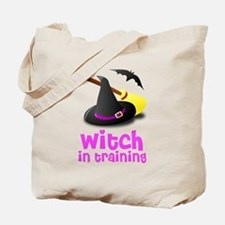 Witch in training hat broom b Tote Bag