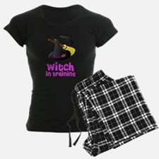 Witch in training hat broom b pajamas