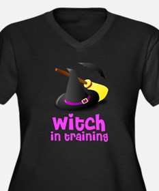 Witch in training hat broom b Women's Plus Size V-