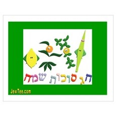 HAPPY SUKKOT HEBREW Poster