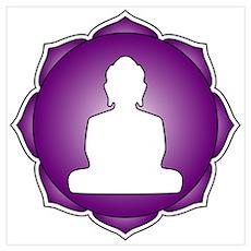Purple Lotus Buddha Poster