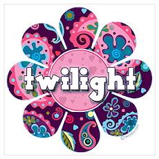 Twilight Retro Paisley Purple Flower Poster