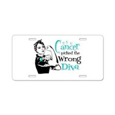 Wrong Diva Ovarian Cancer Aluminum License Plate