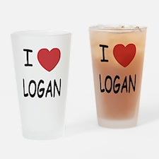 I heart Logan Drinking Glass