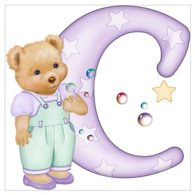 Teddy Alphabet C Purple Canvas Art
