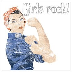 Girls Rock! (vintage) Framed Print