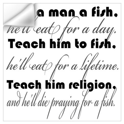 Give a man a fish wall decal for Teach a man to fish bible verse