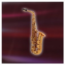 Saxaphone on Red Framed Print