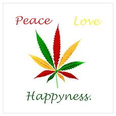 Peace, love, Happiness, Rasta Poster