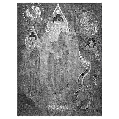 black + white englightened buddhas s Canvas Art