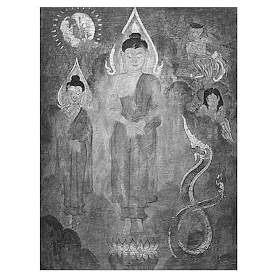 black + white englightened buddhas s Poster
