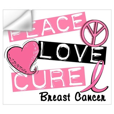 PEACE LOVE CURE Breast Cancer (L1) r Wall Decal