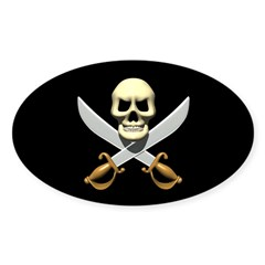 Pirate Skull and Swords Oval Decal