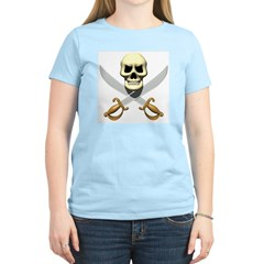 Pirate Skull and Swords Women's Pink T-Shirt