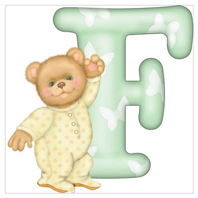 Teddy Alphabet F Green Canvas Art