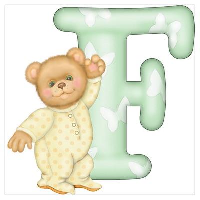 Teddy Alphabet F Green Poster