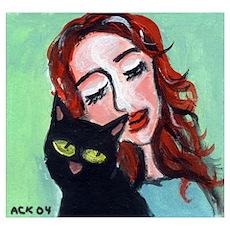 Black Cat w Redhead Poster