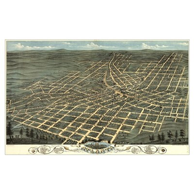 Atlanta antique map 1871 Canvas Art