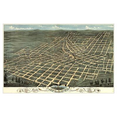Atlanta antique map 1871 Poster