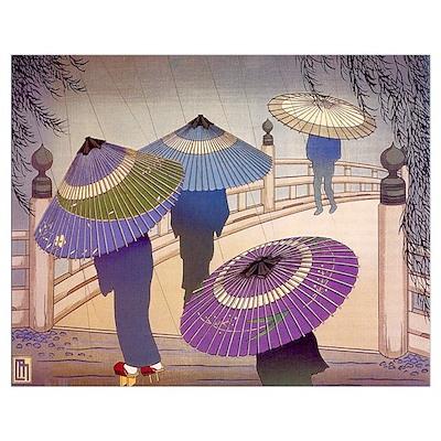 Rain Blossoms Print Poster