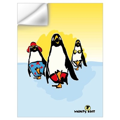 Penguin Beach Patrol - 12x18 Wall Decal