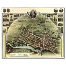 Vintage Stratford Map Canvas Art