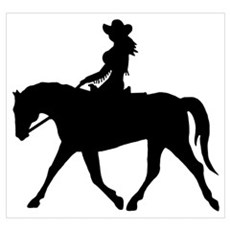 Cute Cowgirl on Horse Framed Print