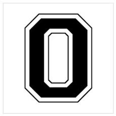 Varsity Font Number 0 Black Framed Print