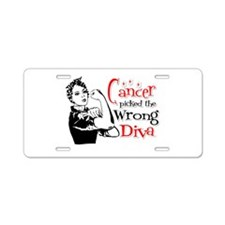 Wrong Diva Lung Cancer Aluminum License Plate