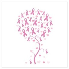 Pink Ribbon Breast Cancer Tre Canvas Art