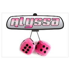 """Alyssa Pink Fuzzy Dice"" Poster"