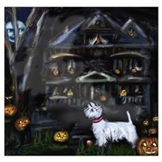 Haunted House Westie Poster