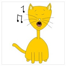 Cute Ginger Singing Cat Canvas Art