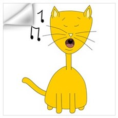 Cute Ginger Singing Cat Wall Decal