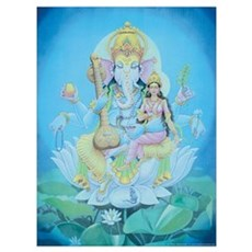 Ganesha with Consort Large Framed Print