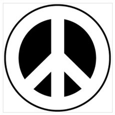 White on Black Peace Sign Poster
