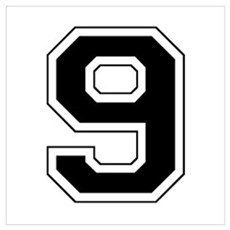 Varsity Font Number 9 Black Framed Print